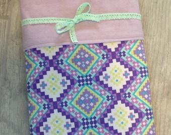 SALE Purple girls baby blanket, cotton swaddling blanket,  receiving blanket, aztec print & lavender baby blanket
