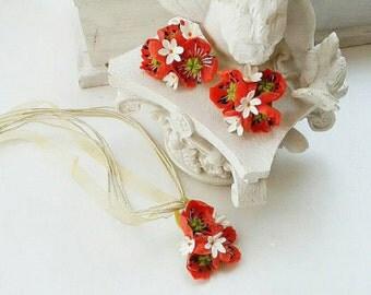 poppy set, poppy ring, poppy earrings, flower jewelry, Christmas gift, girl gift, bridesmaid gift, poppy pendant, poppy hair