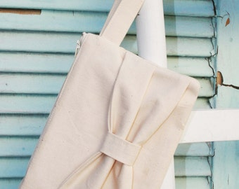 Beige Wristlet Zipper Pouch with Beige Ribbon 5.75 x 9 inches