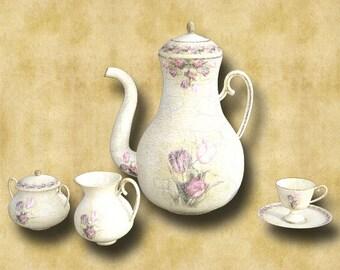 Tea Set 002 Graphics Download 300dpi 3594 x 2162
