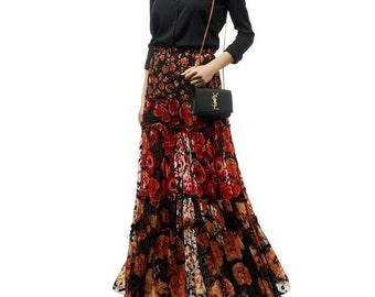 Dévoré silk fabric from Haute Couture / Dévoré de soie liberty L* été 2016 haute couture