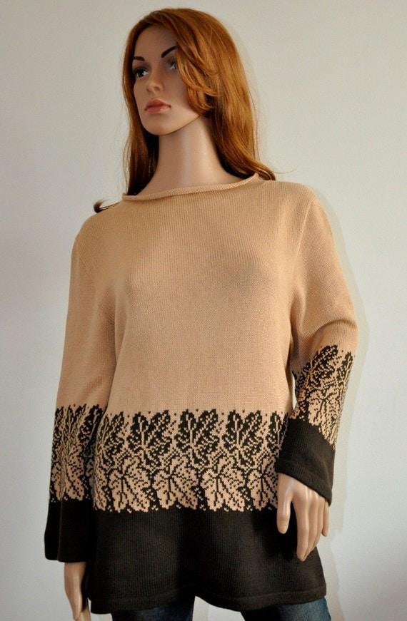 Trendy tunic sweater beige dark brown cotton pullover  Women  loose knit boho jumper Ready to Ship Womens wear L/XL