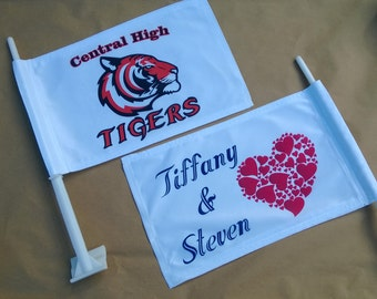 Personalized Car Flags. Your Logo, Photo or Graphic or Custom Wording of your choice. Two Sided