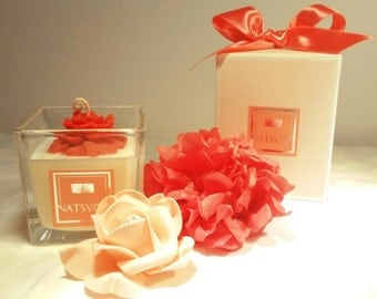 Soy candle-Carnation Flower Candle in Square glass-Hand made