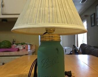 Hand painted Mason Jar lamp