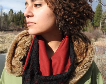 Red and Black Lace Single-Loop Infinity Scarf