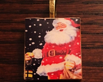 Vintage Christmas Santa Claus St. Nick Father Christmas Scrabble Tile & Resin Pendant