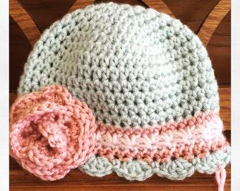 Shabby Chic Baby/Girls crochet hat