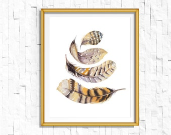 Instant Download Printable Bohemian Feathers Print | Boho Wall Art Feather Print | Tribal Woodland Watercolor Home Decor