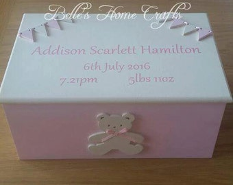 Personalised Baby memory keepsake box, baby box,