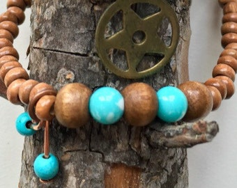 Ankle strap of wood with turquoise with 2 turquoise pendants