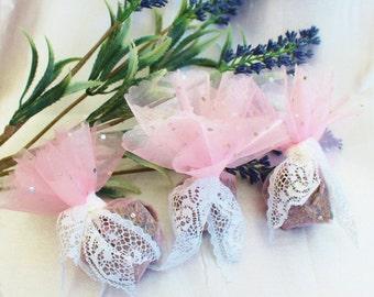 Set of Three Lavender Bridesmaid Gifts, Wedding Favours, Lavender Sachets, Organza Sachets