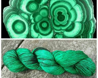 Hand Dyed Yarn, Ultra Soft Single Ply Merino Fingering Weight Tonal Yarn Perfect for Shawls and Other Special Accessories - Malachite