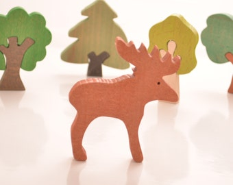 Deer Wooden Figures, Natural Wooden Toys, Beech Toy, Wooden farm animals, Waldorf toys, Montessori toys, Learning toys, Eco Friendly Gift
