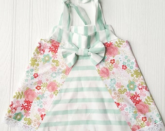 Mint Floral Bow Back Dress with Bloomers