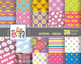 Girl Superhero scrapbook background  Digital Scrapbook Paper, background, Digital Background, pattern paper Super hero background