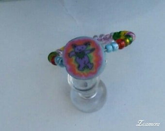 Vintage Clay and Seed Bead Grateful Dead Ring