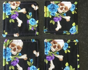 Skulls and roses coasters