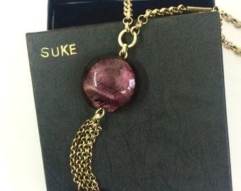 Long Purple Glass Bead Brass Tassel Necklace