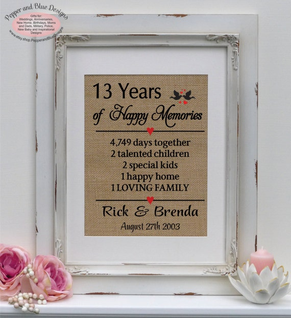 13th Wedding Anniversary Gift Ideas For Her: 13th Wedding Anniversary Gifts 13 Years By