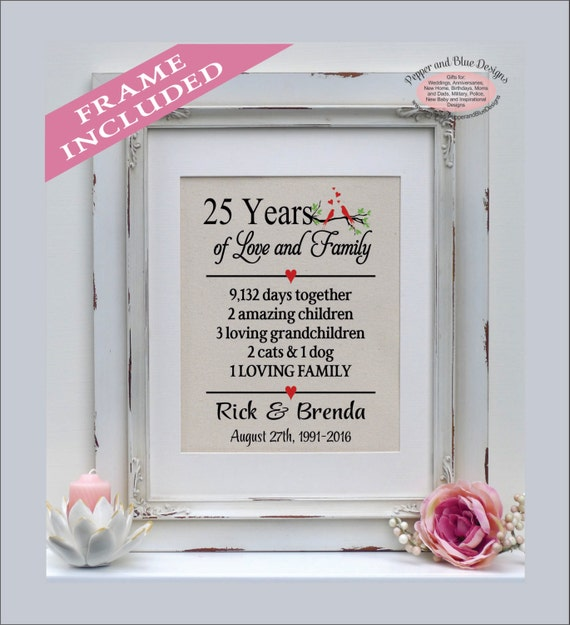 Perfect Gift For 25th Wedding Anniversary: 25th Anniversary Gift 25 Years 25 Year Anniversary