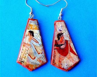 Etruscan Musicians earrings 2