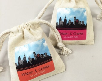 24 Pcs. New York Skyline Personalized Favor Bags (PNYSLM45)