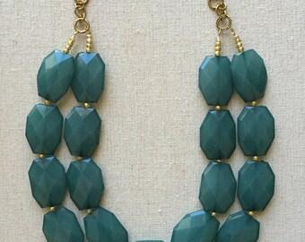Vintage Charm Statement Necklace- Ocean Blue