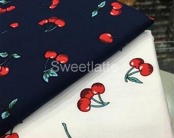 Navy blue 100% cotton fabric/Ivory cotton fabric/Cherry Cotton fabric/kids fabric by the yard
