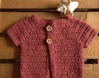 natural raspberry sleeveless Cardigan crochet baby girl buttons wood