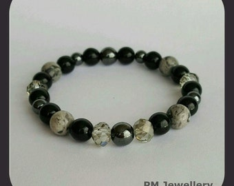Bracelet- natural gemstone and glass beads