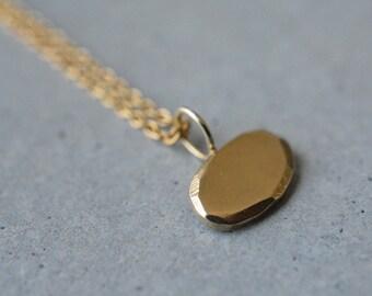 14k gold eliptic pendant necklace-14k gold handmade pendant