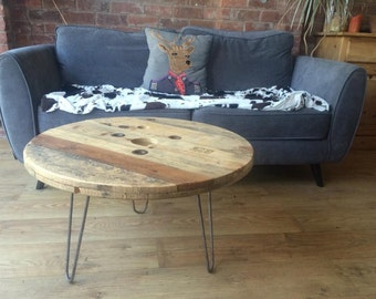 Circular Cable Drum Coffee Table with Metal Hairpin Legs