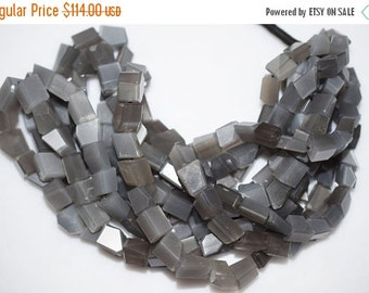"""45% OFF Gray Moonstone Faceted Nuggets Briolette , 16"""" Strand - Grey Moonstone Faceted Nuggets Beads , 8x7 - 12x8.5 mm , BL453"""