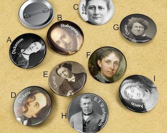 "1"" 1/2 Pinback Button Set 'Famous Literary People' CHOOSE 3"