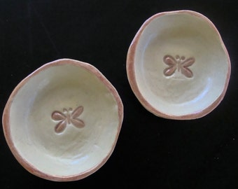 Handmade ceramic small butterfly bowls, jewelry dish, teabag holder, spoon rest, wedding ring holder, trinket dish, pottery bowl, IN STOCK