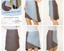 Asymmetrical wrap skirt - sewing pattern and tutorial, A-line flattering skirt pattern