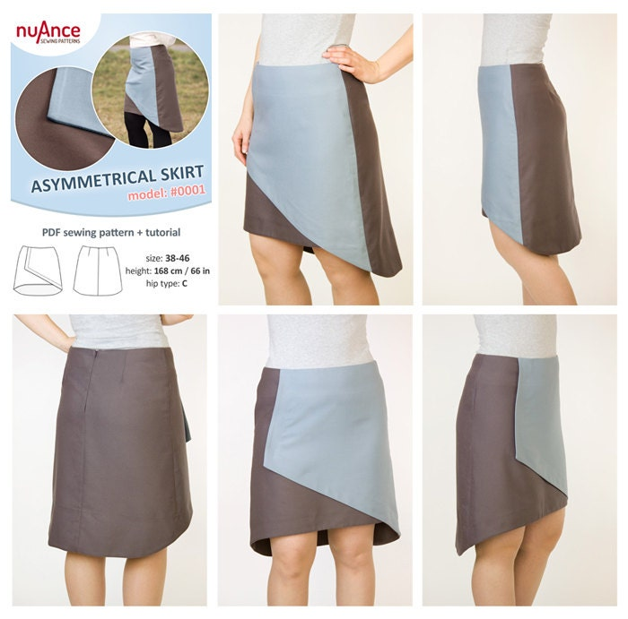 asymmetrical wrap skirt sewing pattern and tutorial a line