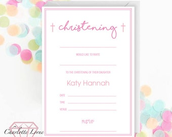 Christening Invitation - Blank Invitation - Baptism - Naming Day - Personalised Invite - Digital Download File - Printable Invitations