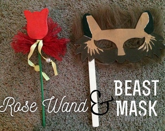 Beauty and the Beast Rose Wand or Beast Mask