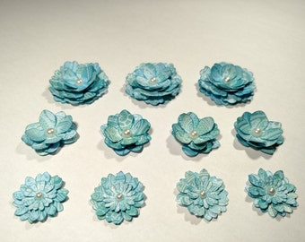Hand-made blue paisley lace scrapbooking flower embellishments stickers