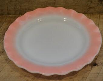 Hazel Atlas Pink Crinoline Plate , Pink Ruffle Plate, Milk Glass, Plate, Pink Plate, Pink Kitchen Decor,