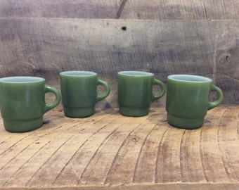 Green Fire-King Mugs Set , Set of Four Fire-King Mugs , Retro Coffee Mug , Fire-King Cup Stackable , C handle , Stackable Mug, Avocado Green