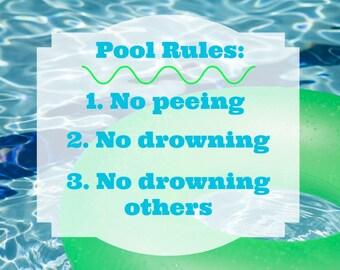 "Printable Art ""Pool Rules"""