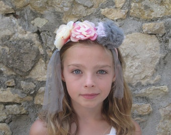 Headband flowers and PomPoms