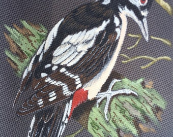 Vintage hand painted Downy woodpecker on a grey polyester tie MC5