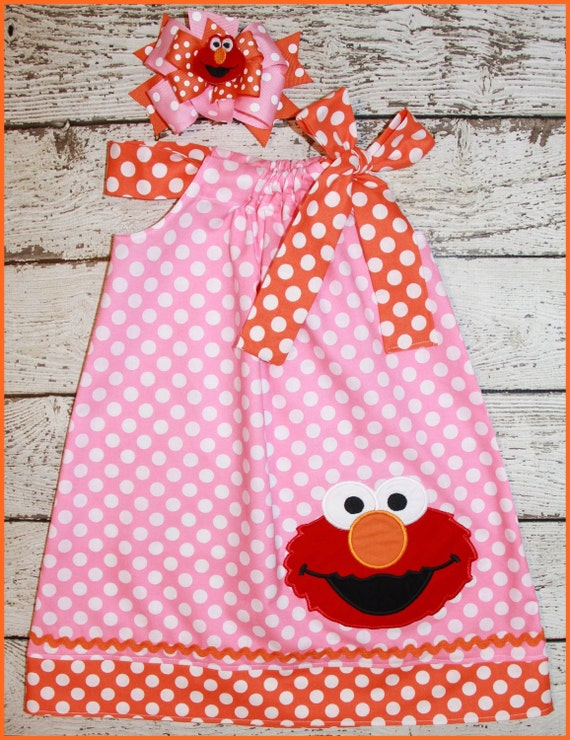 Sweet Pink and orange Elmo  polka dot dress matching hair bow available