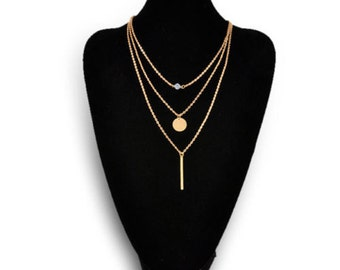 3 Layer Minimalist Gold Plated Vertical Bar, Disc, CZ Necklace