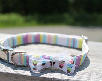 Multi-Colored Stripes with Cupcake bow Collar
