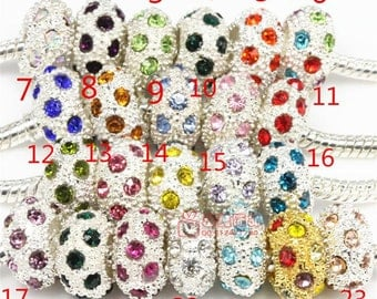 23pcs 7*12mm mixed silver large hole  beads DC03